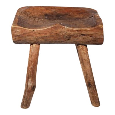 Small Wooden Carved Stool For Sale