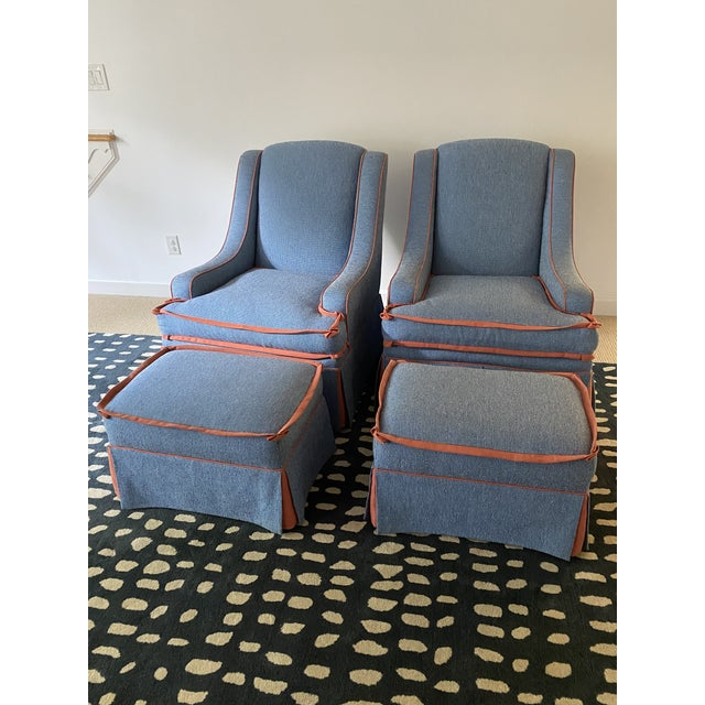This is a beautiful custom made pair of designer swivel chairs. Down cushions and high end materials. They have been...