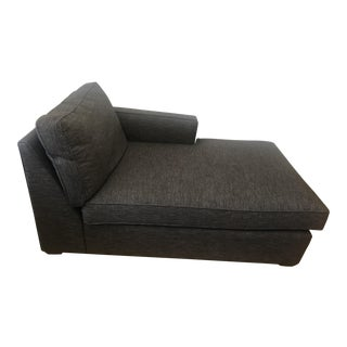 Crate & Barrel Dark Gray Upholstered Chaise Lounge For Sale