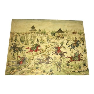 Traditional Painting of Persian Warriors on Horseback and Camp Scene For Sale