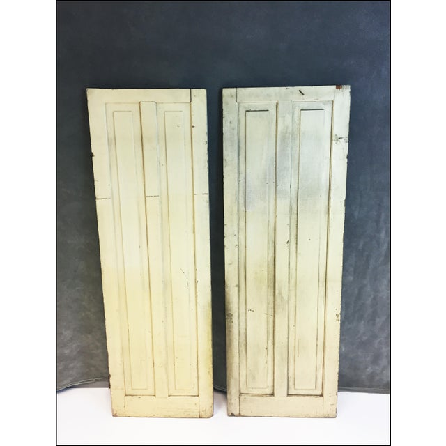 Vintage Rustic Yellow Milk Painted Cabinet Doors - A Pair - Image 2 of 11