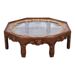 Baker Furniture Hollywood Regency Chinoiserie Octagonal Cocktail Table For Sale