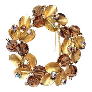 Austrian Gold & Amber Wreath Brooch For Sale