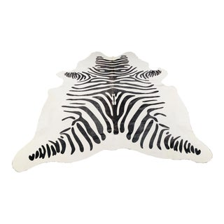 Black and White Hair on Hide Zebra Rug - 6' x 6'4""