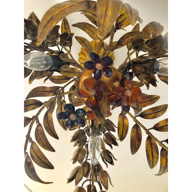 Mid 20th Century Maison Bagues Style 3 Light Flush Mount Gilded Wrought Iron and Crystal Chandelier For Sale - Image 5 of 10