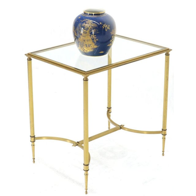Pair of Solid Brass Glass Tops Stretcher Janson Style End Occasional Tables For Sale - Image 9 of 13