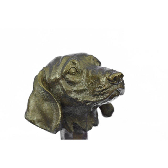 Bronze Dachshund Bust Bronze Sculpture For Sale - Image 7 of 10