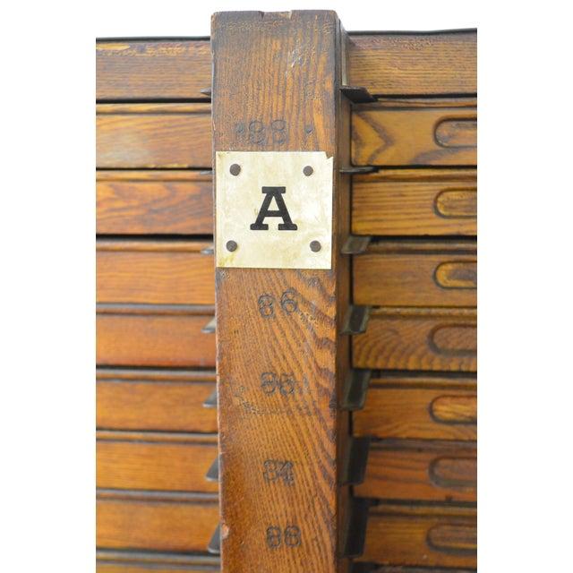 Hamilton Antique Oak 76 Drawer Flat File Wood Type Letterpress Printers Cabinet - Image 9 of 11