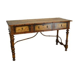1990s Chinese Hand-Painted Faux Bamboo Hall Table / Sideboard For Sale