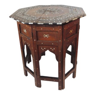 Hexagonal Folding Hand Carved Bone Inlaid Indian Side Table For Sale
