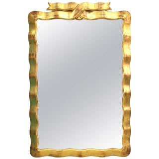 Mid Century Modern Dorothy Draper Gold Ribbon Wall Mirror