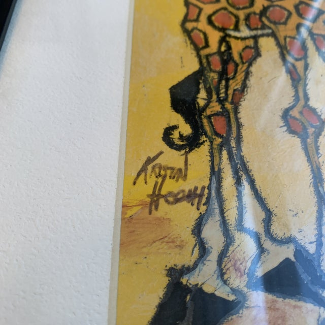 Mid 20th Century Giraffe Painting, Framed For Sale - Image 4 of 7