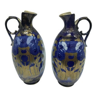 1900s British Art Nouveau Gold Blue and White Ceramic Jugs - a Pair For Sale