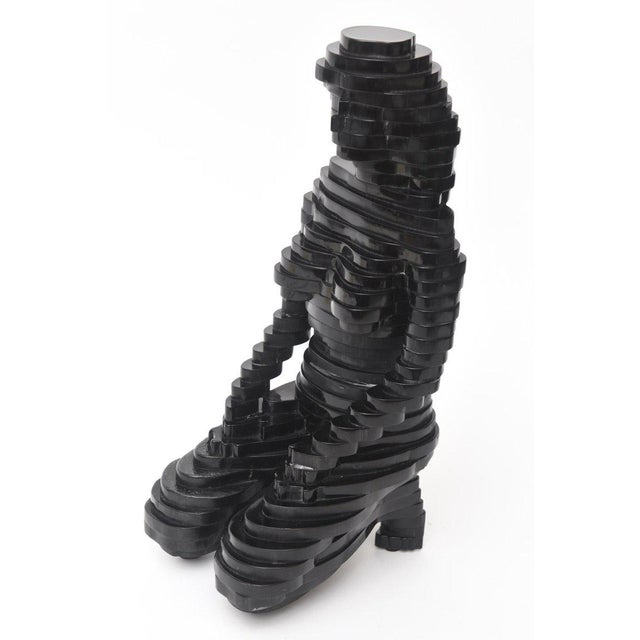 1970s Egyptian Revival Sphinx Stepped Black Resin Sculpture For Sale - Image 5 of 11
