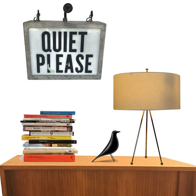 "Fantastic Mid Century Modern Light Up Wall Sign, Hanging Industrial Studio Lighted Sign. ""QUIET PLEASE"". Channeling the..."