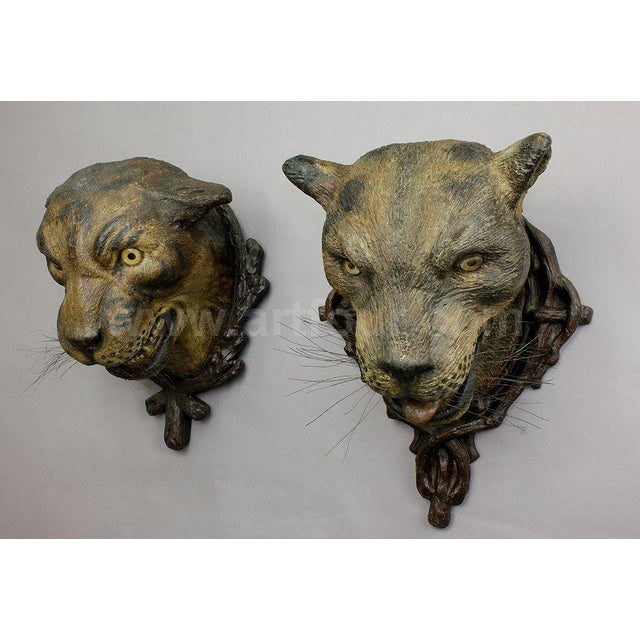 A Gorgeous Pair Of Leopard Heads, Austria Ca. 1890 For Sale - Image 4 of 12