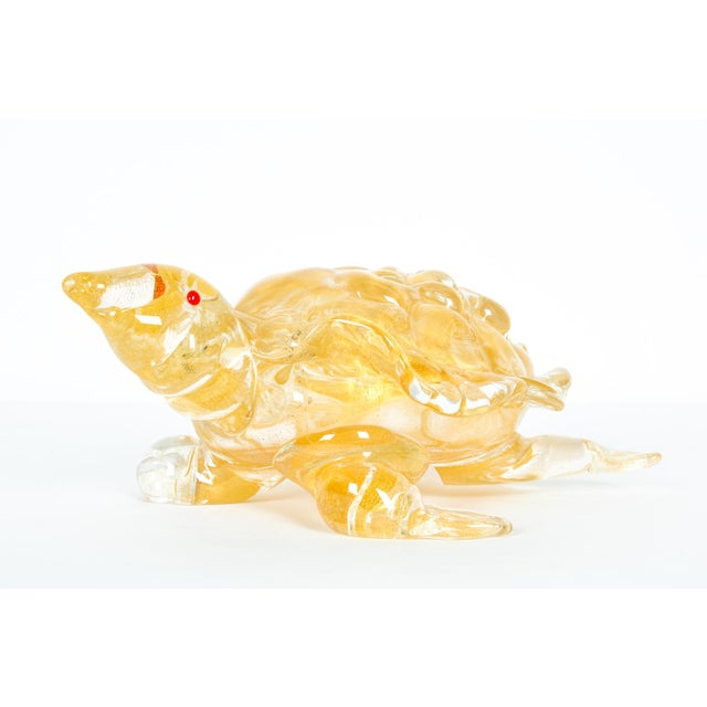 Mid-Century Modern gold Murano glass decorative turtle. Just exquisite and in excellent condition. The turtle measure 11...