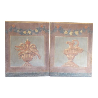 18th Century French Blue Gray Screen Panels - a Pair For Sale