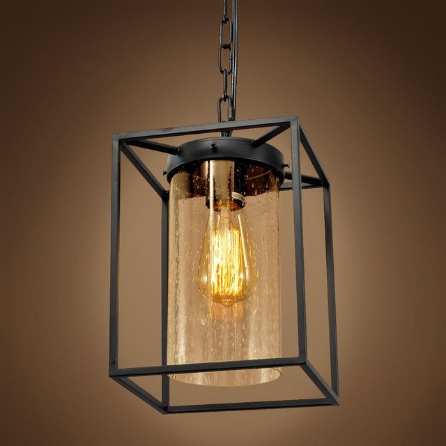 Vintage Style Iron Glass Pendant Light - Image 4 of 4
