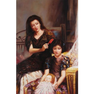 19th C. Oil Painting of Family Woman Mother and Child For Sale