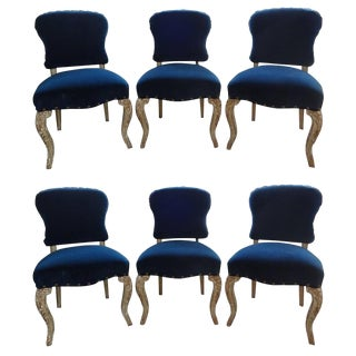 Set of Six French Louis XV-XVI Style Painted and Gilt Wood Dining Chairs For Sale