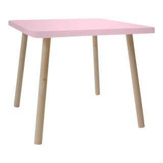 "Tippy Toe Small Square 23.5"" Kids Table in Maple With Pink Finish Accent For Sale"