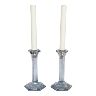 Custom Pair of Antique Glass Candlestick Table Lamps For Sale