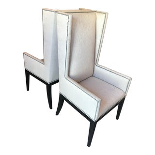 Modern Wingback Armchairs With Nailheads - a Pair