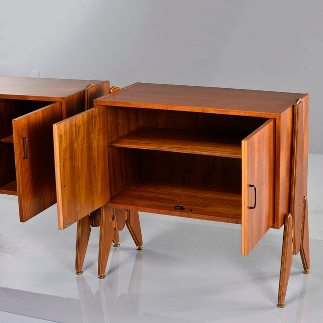 Pair Mid Century Italian Adjustable Height Teak Side Cabinets For Sale In Detroit - Image 6 of 13