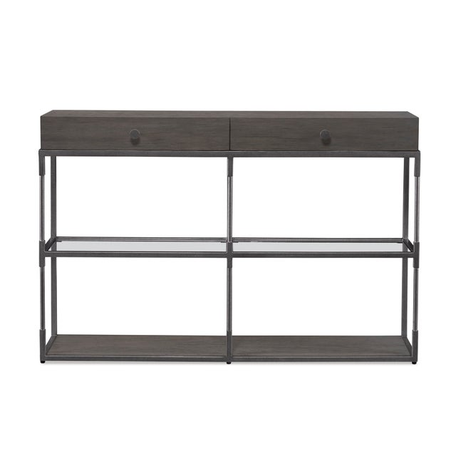 This piece is available only as shown, and will ship in 2-3 weeks. This contemporary, clean-lined double console table...