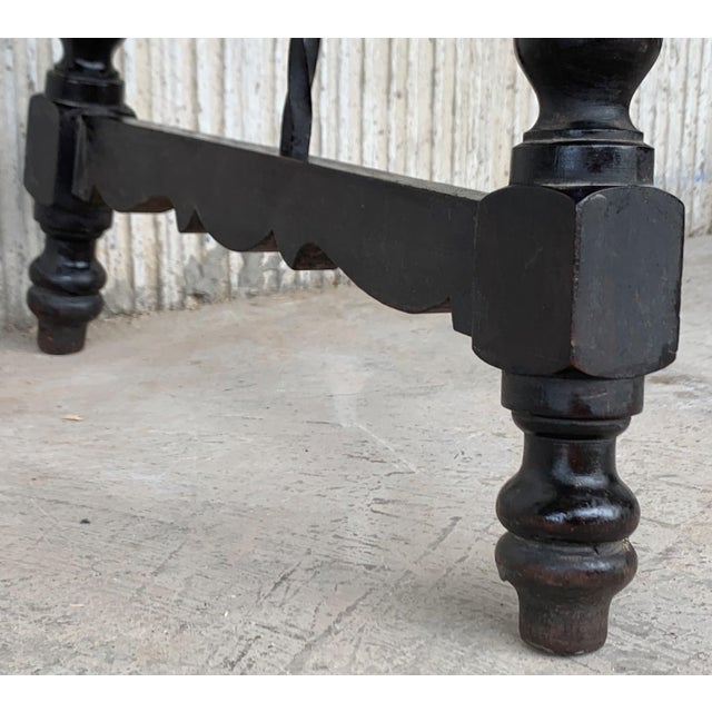 19th Spanish Baroque Side Table With Iron Stretcher and Carved Top in Walnut For Sale - Image 11 of 12