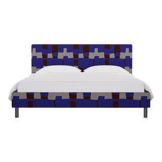 California King Tailored Platform Bed in Blue Quilt For Sale