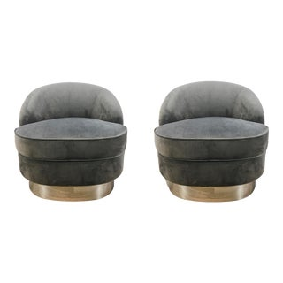Regina Andrew Modern Gray Velvet and Chrome Finished Jacqueline Slipper Chairs Pair For Sale