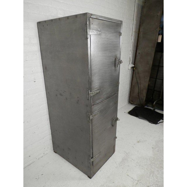 Industrial Metal Mid-Century Two Door Locker For Sale - Image 4 of 6