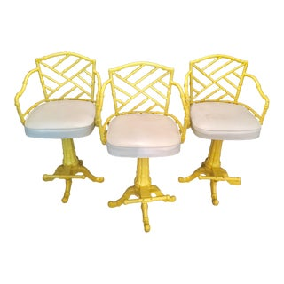 1970s Vintage Chinese Chippendale Faux Bamboo Wrought Iron Counter Stools- Set of 3 For Sale