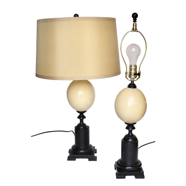 Ostrich Egg and Ebony Base Lamps - a Pair For Sale