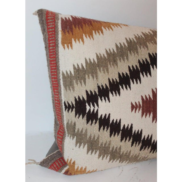 Tan Navajo Indian Weaving Saddle Blanket Pillows - Set of 2 For Sale - Image 8 of 9