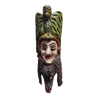 Antique Wood Carved Painted Mexican Mask For Sale