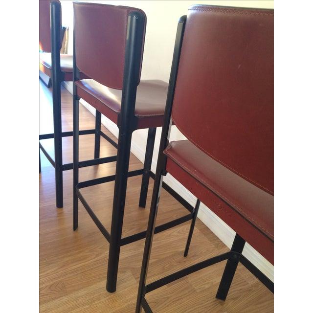 Matteo Grassi Matteo Grassi Sistina Leather Bar Stools Set of 4 For Sale - Image 4 of 9