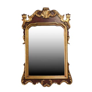 Antique George II Style English Burl Walnut Veneer Mahogany Parcel-Gilt Mirror For Sale