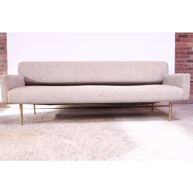 Edward Wormley for Dunbar Sofa With Brass Feet For Sale - Image 13 of 13