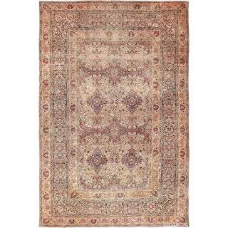 Large Antique Persian Kerman Floral Cream and Mauve Rug - 12′5″ × 19′7″ For Sale