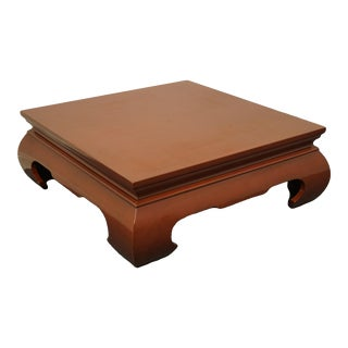Contemporary Modern Asian Inspired Square Rust Red Coffee Table For Sale