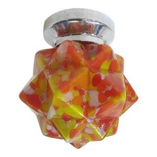 """Modern """"End of Day"""" Orange Starburst Shape Ceiling Glass Globe Pendant For Sale"""