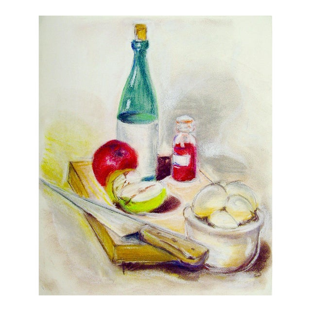 Wine and Apples Pastel Still Life Drawing For Sale