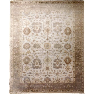 "Hand Knotted Bamboo Silk Indo Ushak Rug -7'10""x 10' For Sale"