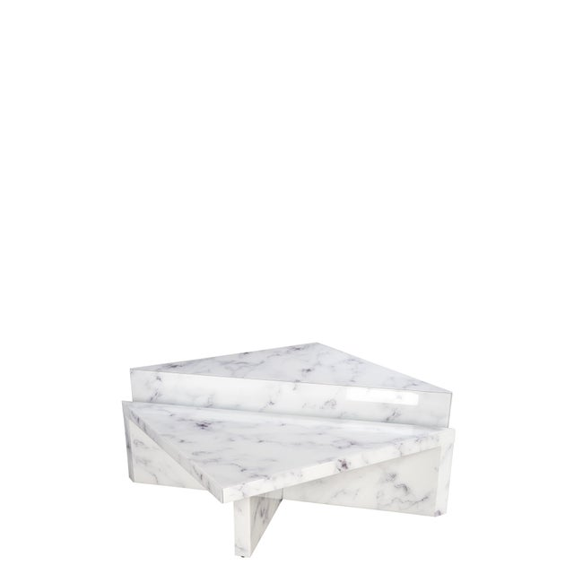 Set of 2 modern coffee tables will update your decor .Embrace the building blocks of modern design with this faux marble...
