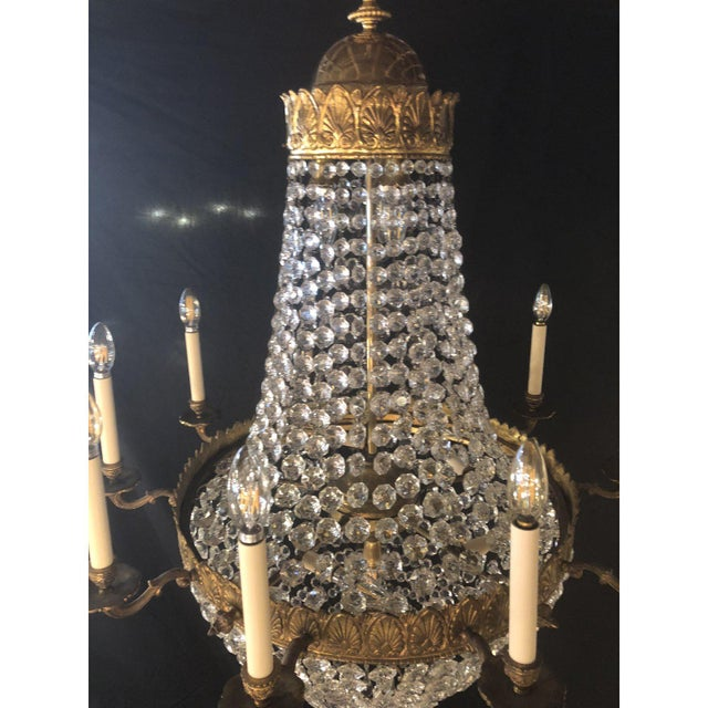 1920s Large French Antique Louis XVI Style Bronze and Crystal Chandelier For Sale - Image 5 of 11