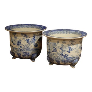 Pair of 19th Century French Painted Porcelain Cache Pots With Flowers and Birds For Sale