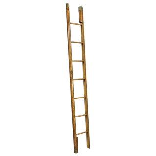 English Brown Leather and Brass Tack Stick Ladder For Sale